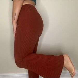 Burgundy ribbed pants